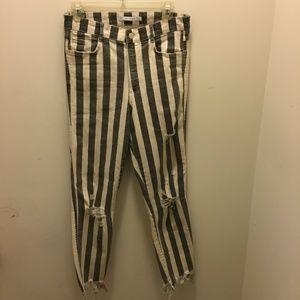 Zara Distressed Stripe Ankle Denim US6